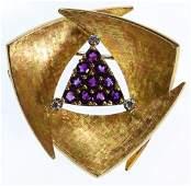 Gubelin 18k Gold, Amethyst and Diamond Pendant / Brooch
