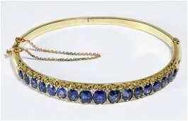 14k Gold Sapphire and Diamond Hinged Bangle Bracelet