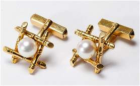 14k Gold and Pearl Cuff Links