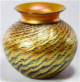 Lundberg Indian Basket Art Glass Vase