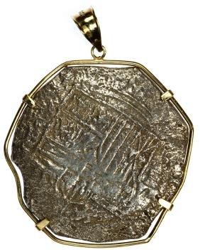 Spain: Atocha Shipwreck Coin In 14k Gold Bezel