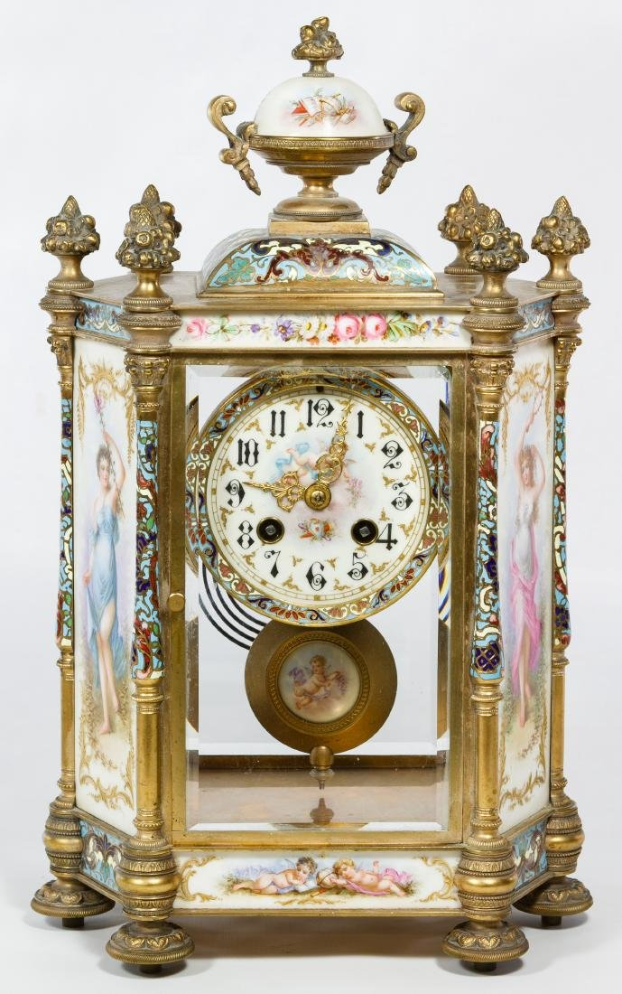 French Sevres Style Mantel Clock