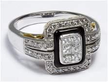 Simon G. Platinum, 18k Gold, Onyx and Diamond Ring