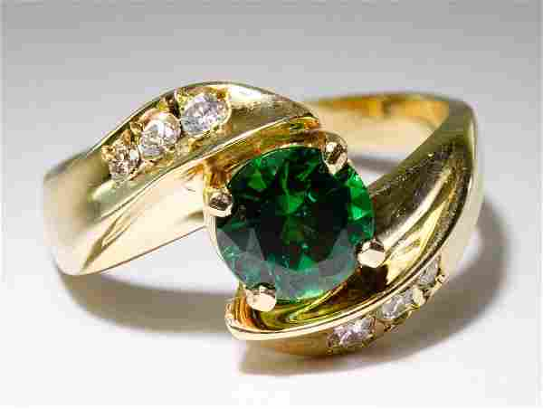 14k Gold, Chrome Diopside and Diamond Ring