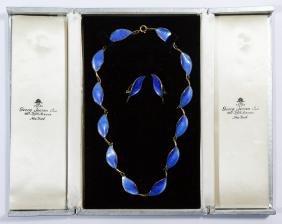 David Andersen Sterling Silver And Enamel Jewelry Set