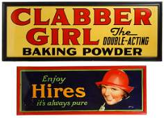 Hires and Clabber Girl Tin Advertising Signs