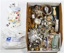 Rhinestone Costume Jewelry, Watch, Spoon, Coin and