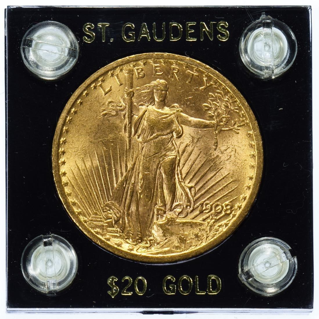 1908 $20 Gold AU Details