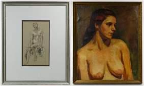 Style of Aaron Bohrod American 19071992 Nude