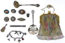 Painted Mesh Purse and Millifiori Jewelry Assortment