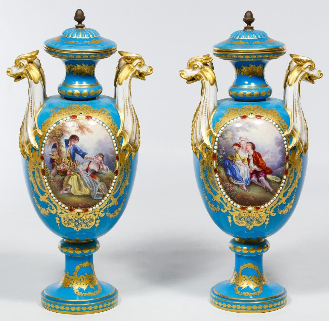 Sevres Turquoise and Jewel-tone Urns