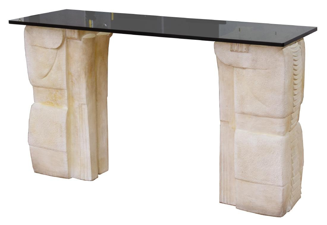 Molded Composition and Glass Console Table by Jesper