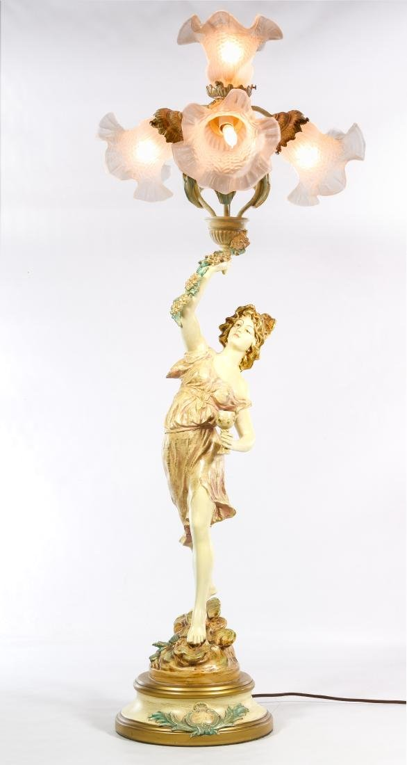 French Style Painted Bronze 'Wine Dancer' Table Lamp
