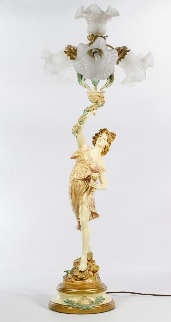 French Style Painted Bronze 'Wine Dancer' Table Lamp - 2