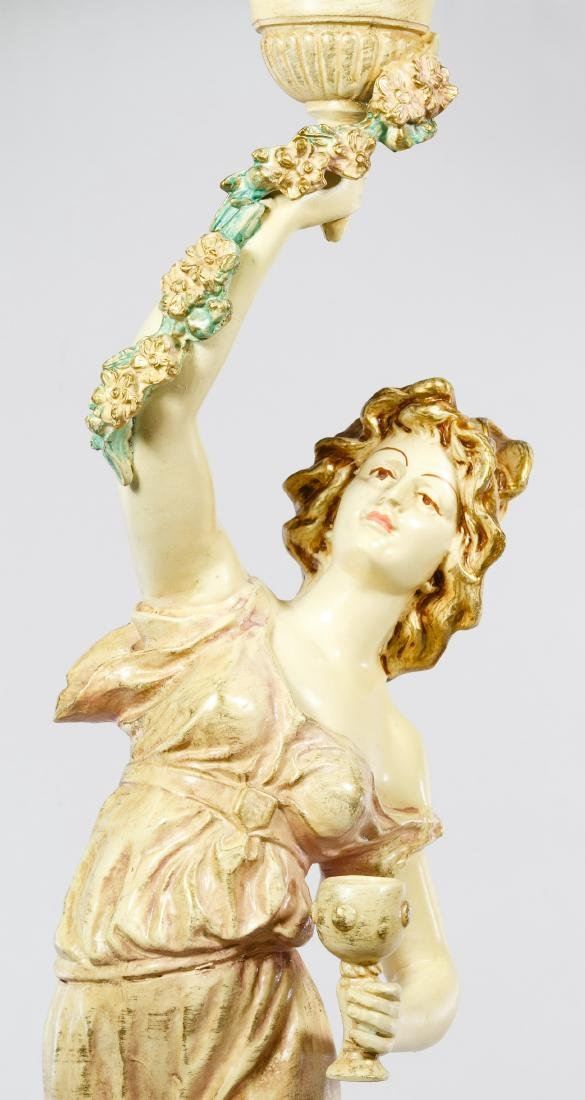 French Style Painted Bronze 'Wine Dancer' Table Lamp - 3