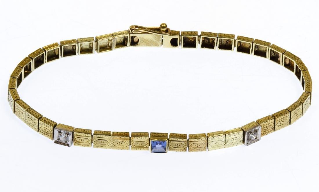 14k Gold, Blue Topaz and Diamond Bracelet