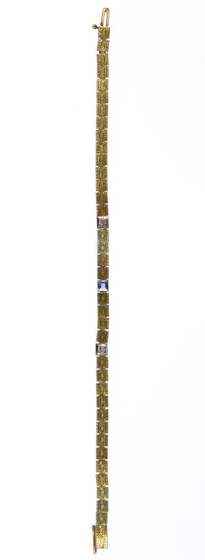14k Gold, Blue Topaz and Diamond Bracelet - 2