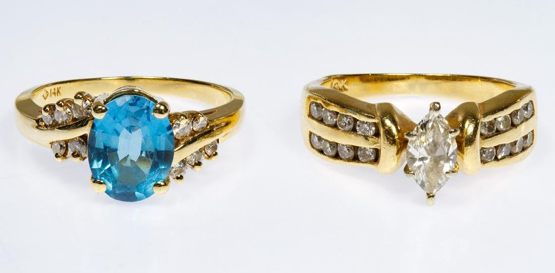 14k Gold, Blue Topaz and Diamond Rings