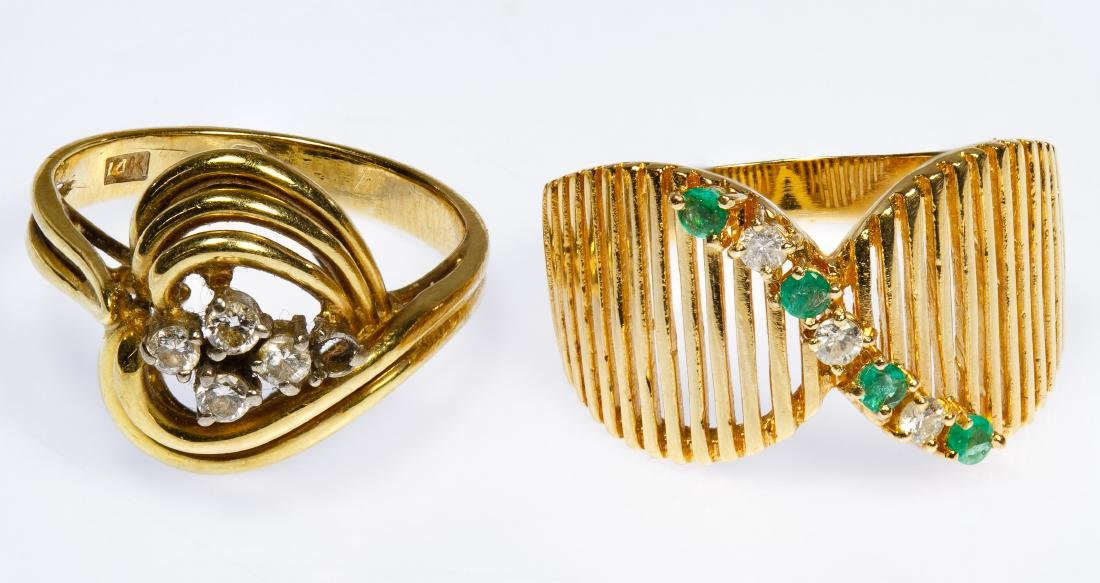 14k Gold, Emerald and Diamond Rings