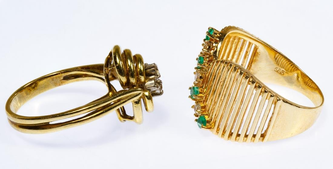 14k Gold, Emerald and Diamond Rings - 2