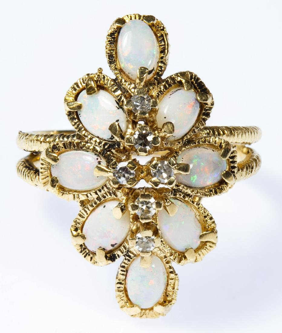 Romany 14k Gold, Opal and Diamond Ring