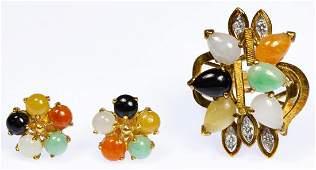 14k Gold, Onyx, Quartz, Jadeite Jade and Diamond