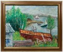 "Philip Evergood (American, 1901-1973) ""On the Lake"" Oil"