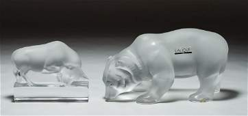 Lalique Crystal 'Bear' and 'Bull' Figurines