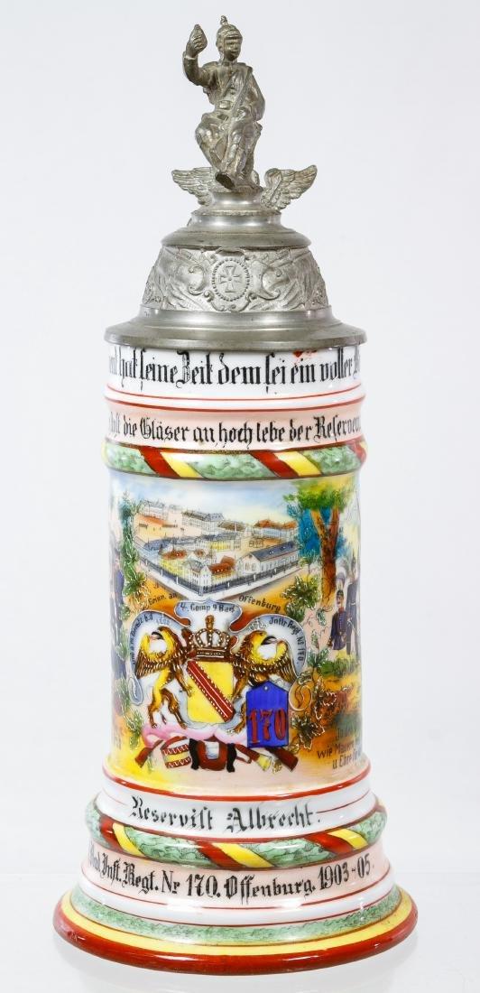 German Regimental Lithophane Half Liter Stein