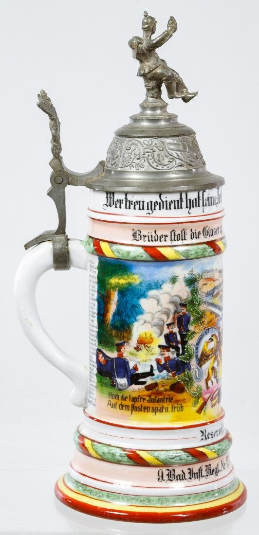German Regimental Lithophane Half Liter Stein - 4