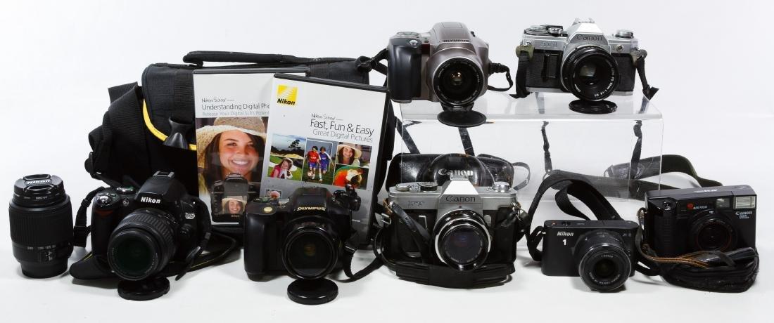 Canon, Nikon and Olympus Camera Assortment