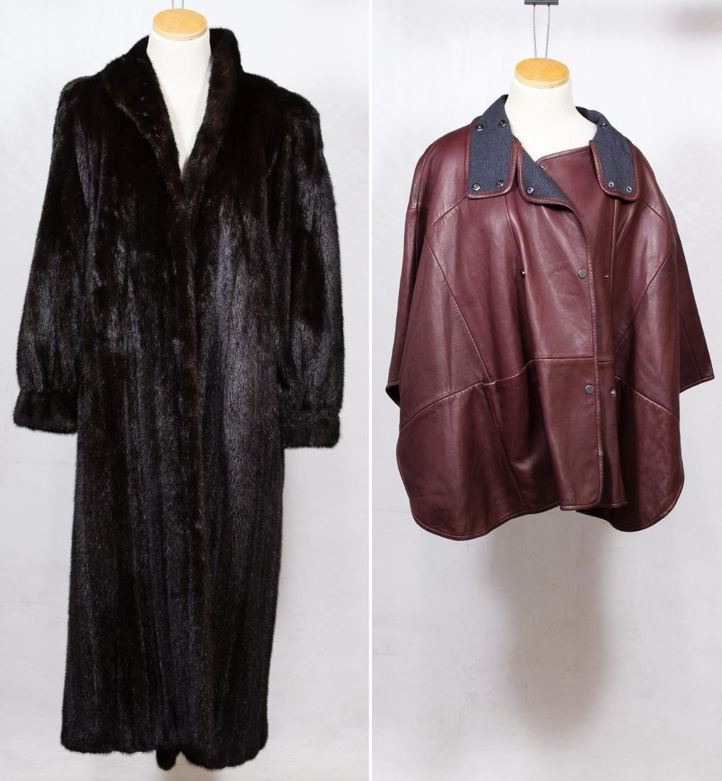 Mink Full Length Fur Coat and Lamb Leather Cape