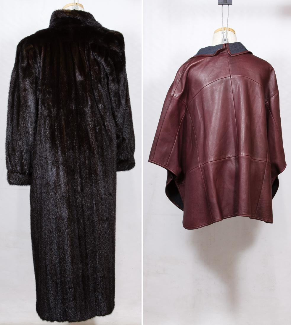 Mink Full Length Fur Coat and Lamb Leather Cape - 2