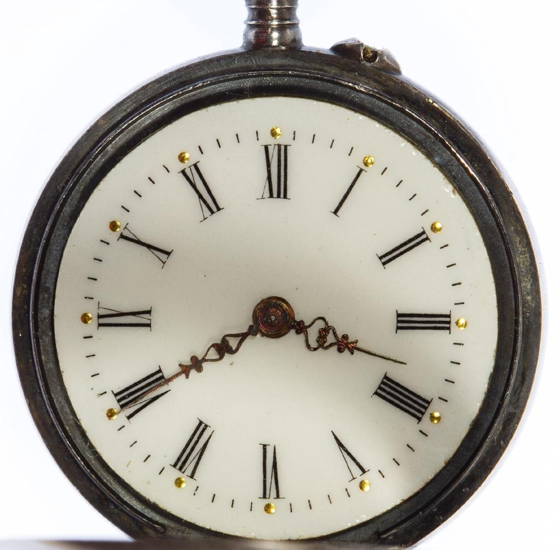 Sterling Silver (.935) Open Face Pocket Watch - 3