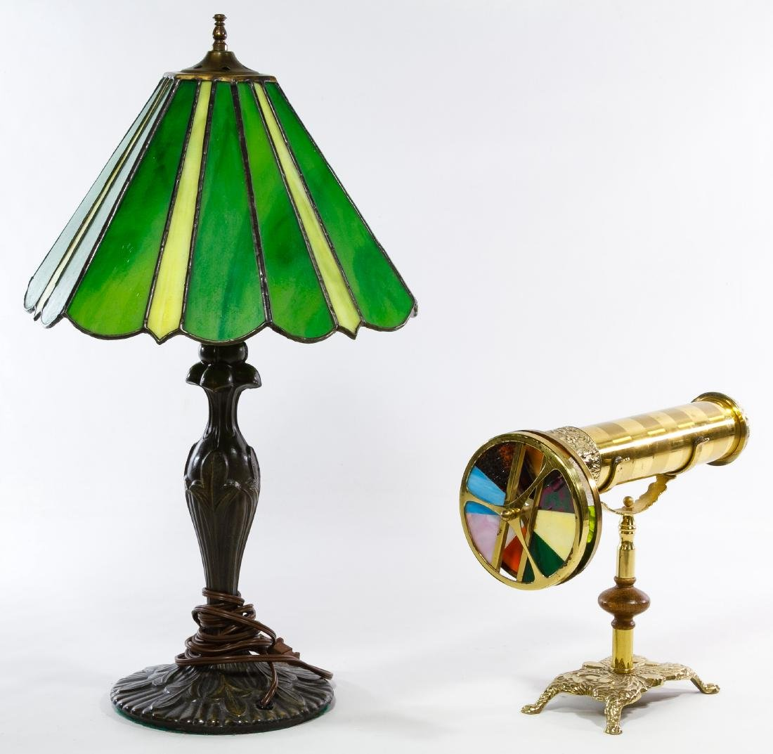 Brass Kaleidoscope and Stained Glass Table Lamp