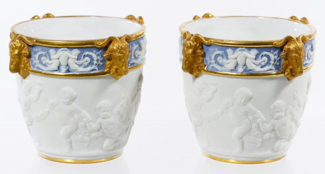 Sevres Style Ceramic Miniature Cachepots