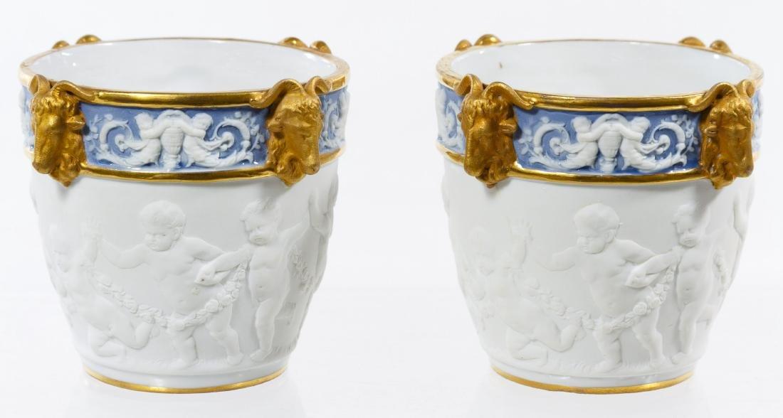Sevres Style Ceramic Miniature Cachepots - 2