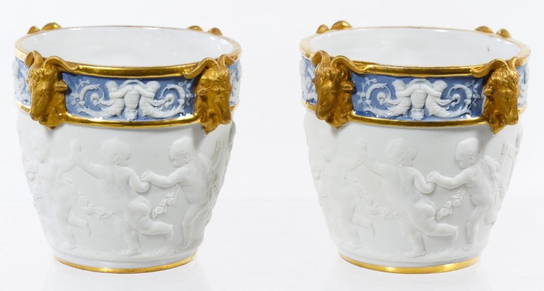 Sevres Style Ceramic Miniature Cachepots - 3