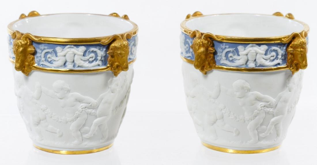 Sevres Style Ceramic Miniature Cachepots - 4