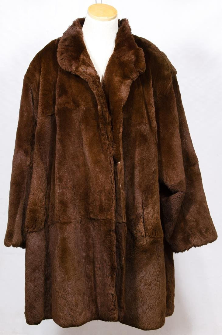 Brown Sheared Beaver Fur Coat by Carole Little