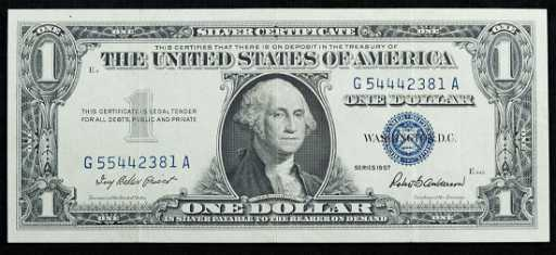1957 $1 Silver Certificate Error Note