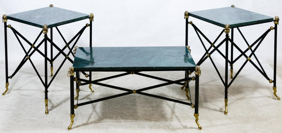 Empire Style Metal and Marble Table Assortment