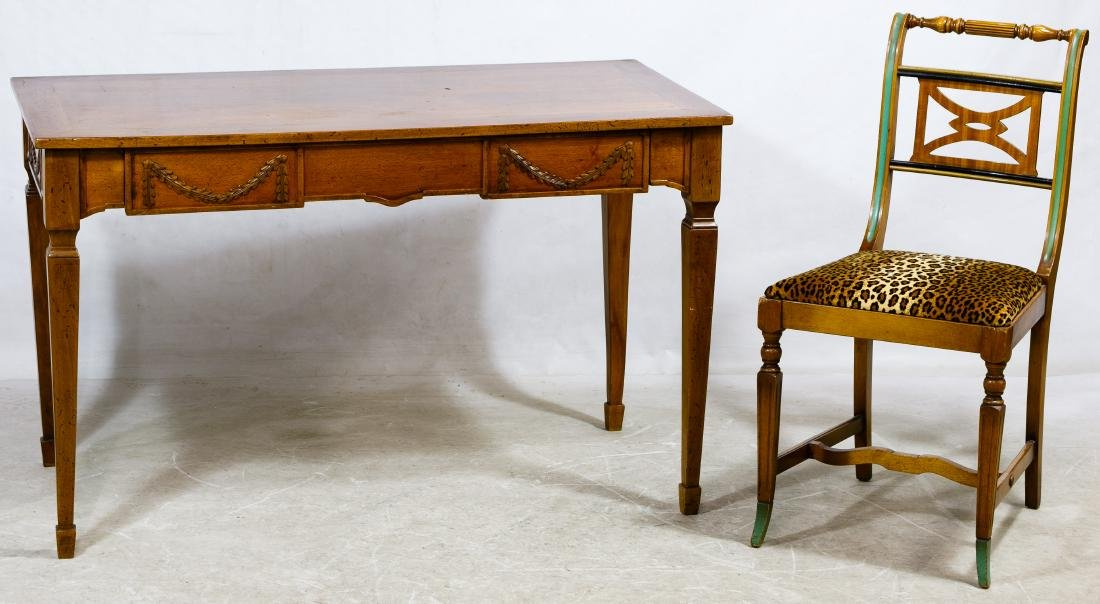 Fruitwood Writing Desk with Chair