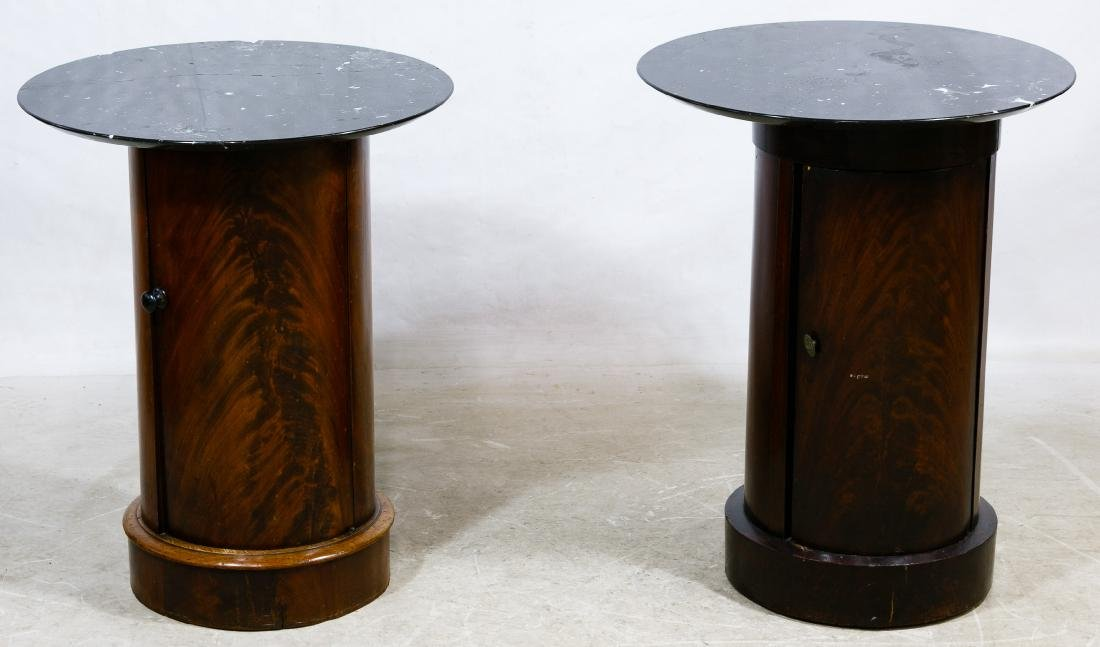 Mahogany Wood and Marble Table / Stands