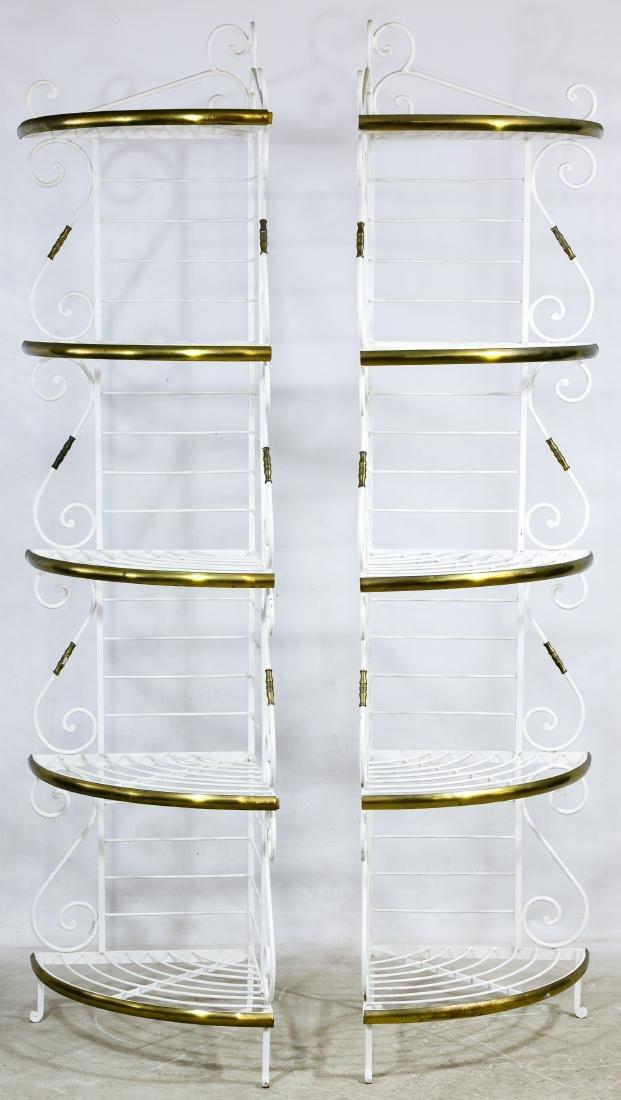 Painted Metal and Brass Corner Baker Racks