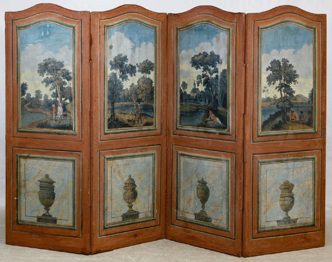 Painted Fabric Room Divider Screen