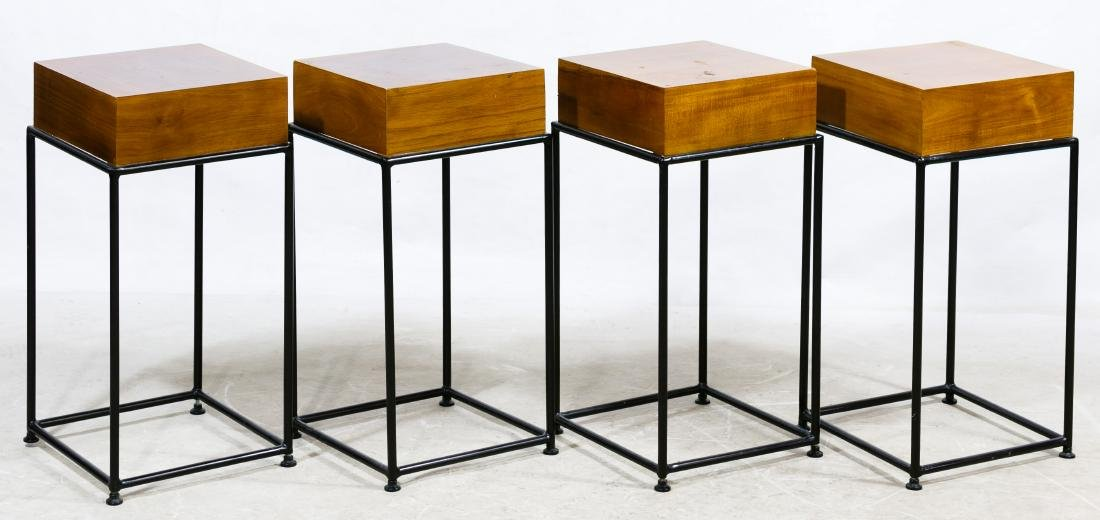 Wood Block and Wrought Iron Tables
