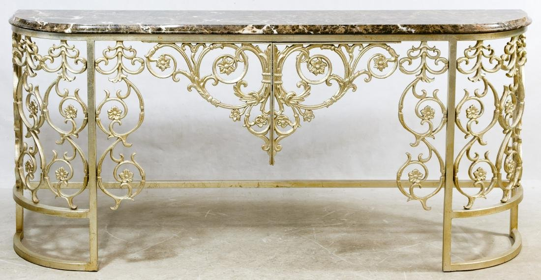 Wrought Iron and Marble Top Server