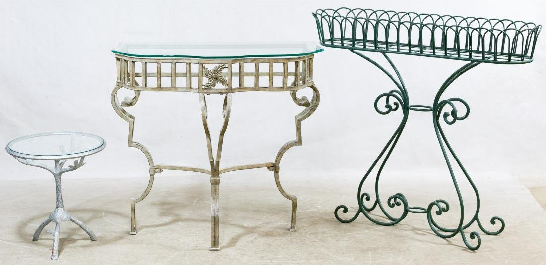 Wrought Iron and Marble Top Server - 2