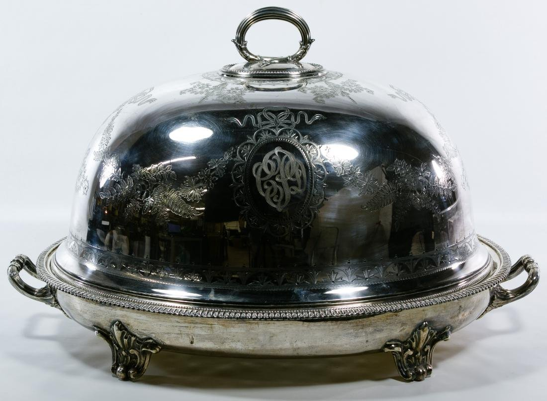 Victorian Silverplate Meat Dome and Platter